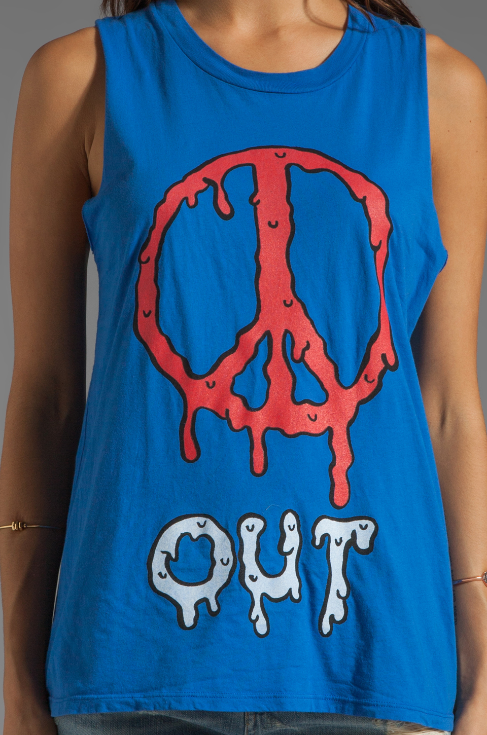 Local Celebrity Peace Out Muscle Tank in Royal