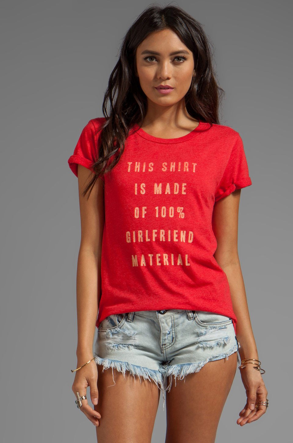 Local Celebrity Girlfriend Material Tee in Cranberry Schiffer
