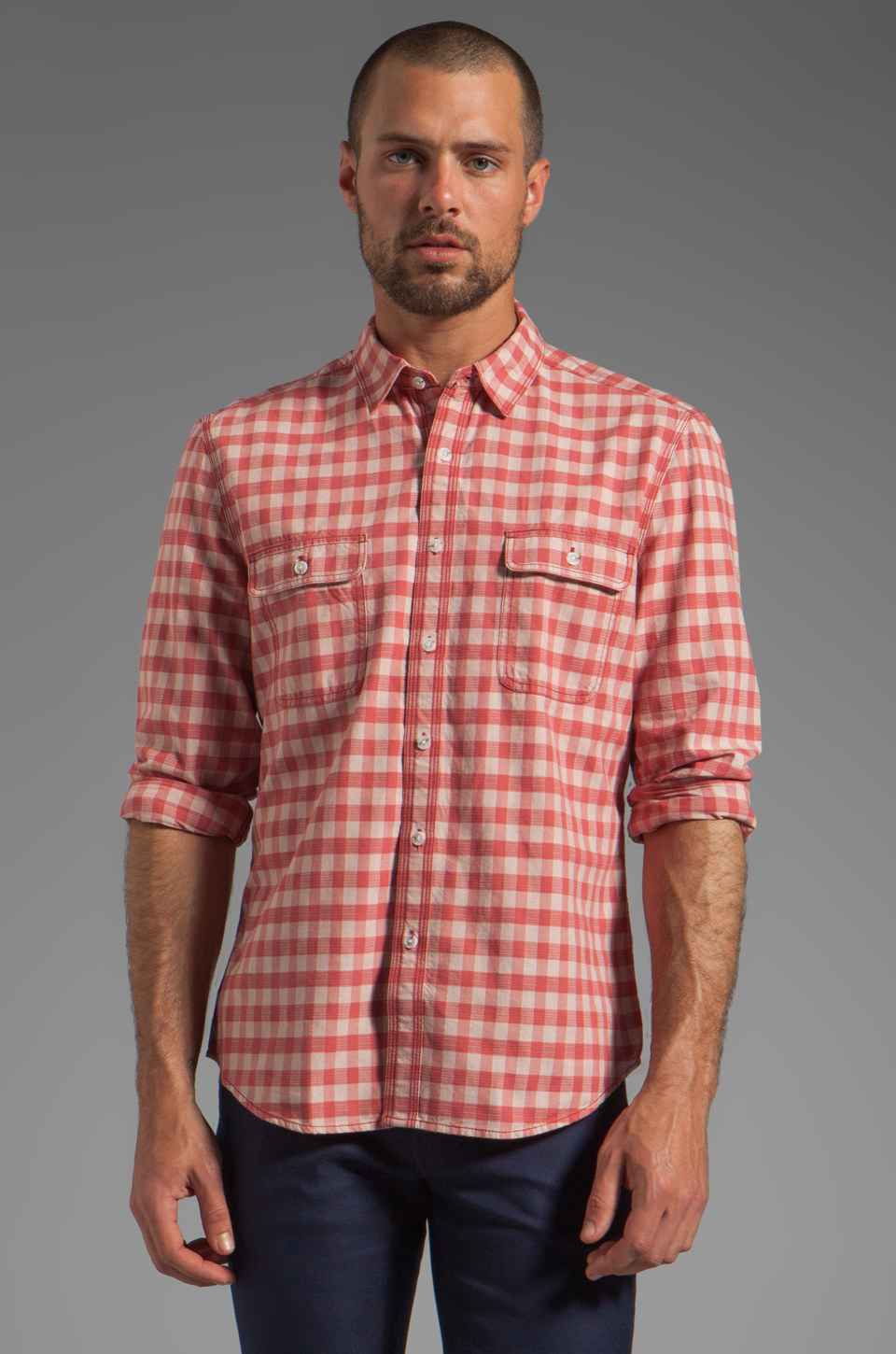 life/after/denim North Beach Soma Check Shirt in Coral