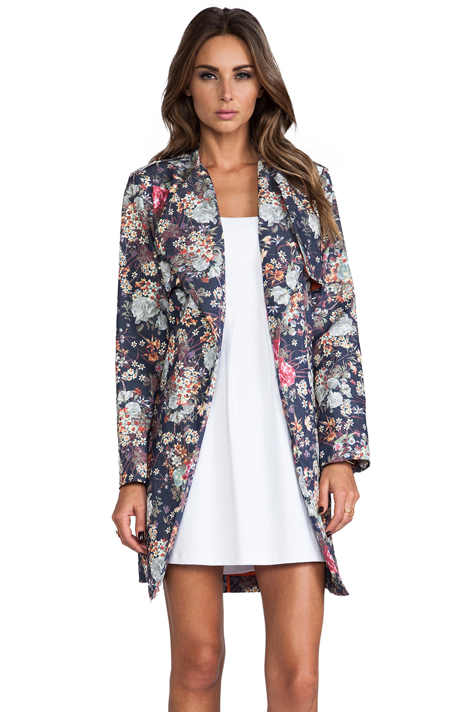 Line & Dot Trench Coat in Blue