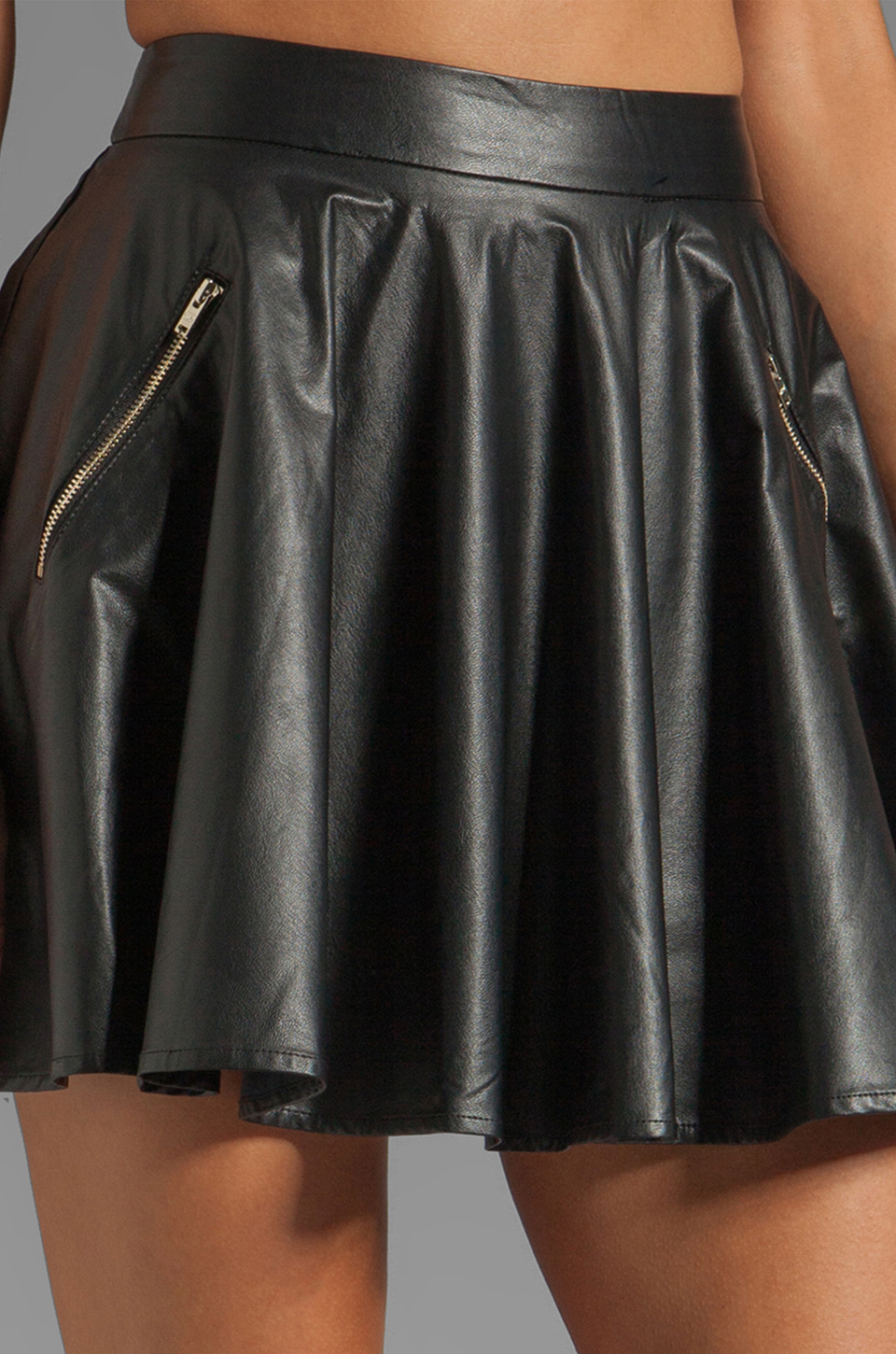 line dot faux leather circle skirt in black revolve