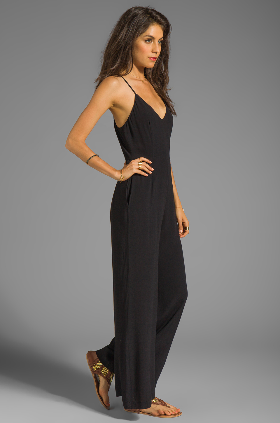 Line & Dot Deep V Jumpsuit in Black