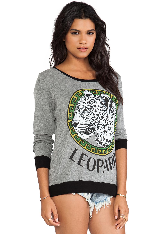 Lauren Moshi Raina Color Leopard Medallion Sweater in Grey/Black