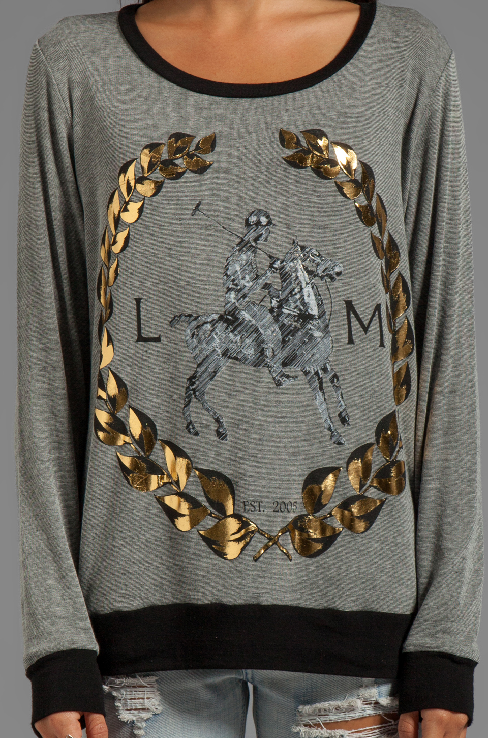 Lauren Moshi Raina Foil LM Crest Pullover Sweater in Grey/Black