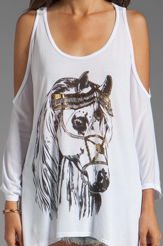 Lauren Moshi Macy Foil Royal Horse Open Shoulder Top in White