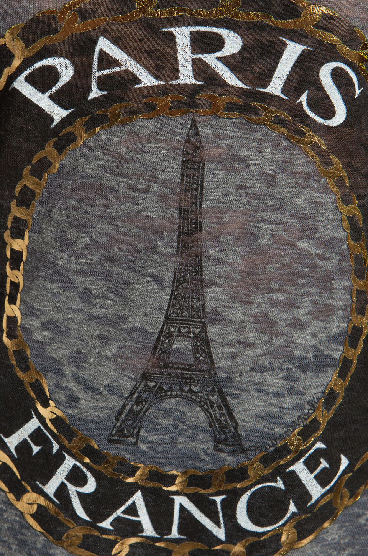 Lauren Moshi Audrey Foil Paris Scoop Tee in Heather Grey
