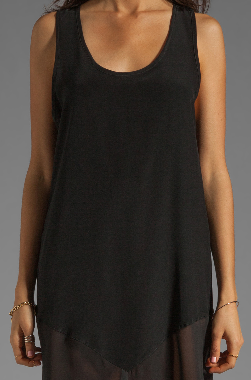LNA Sherwood Tank Dress in Black