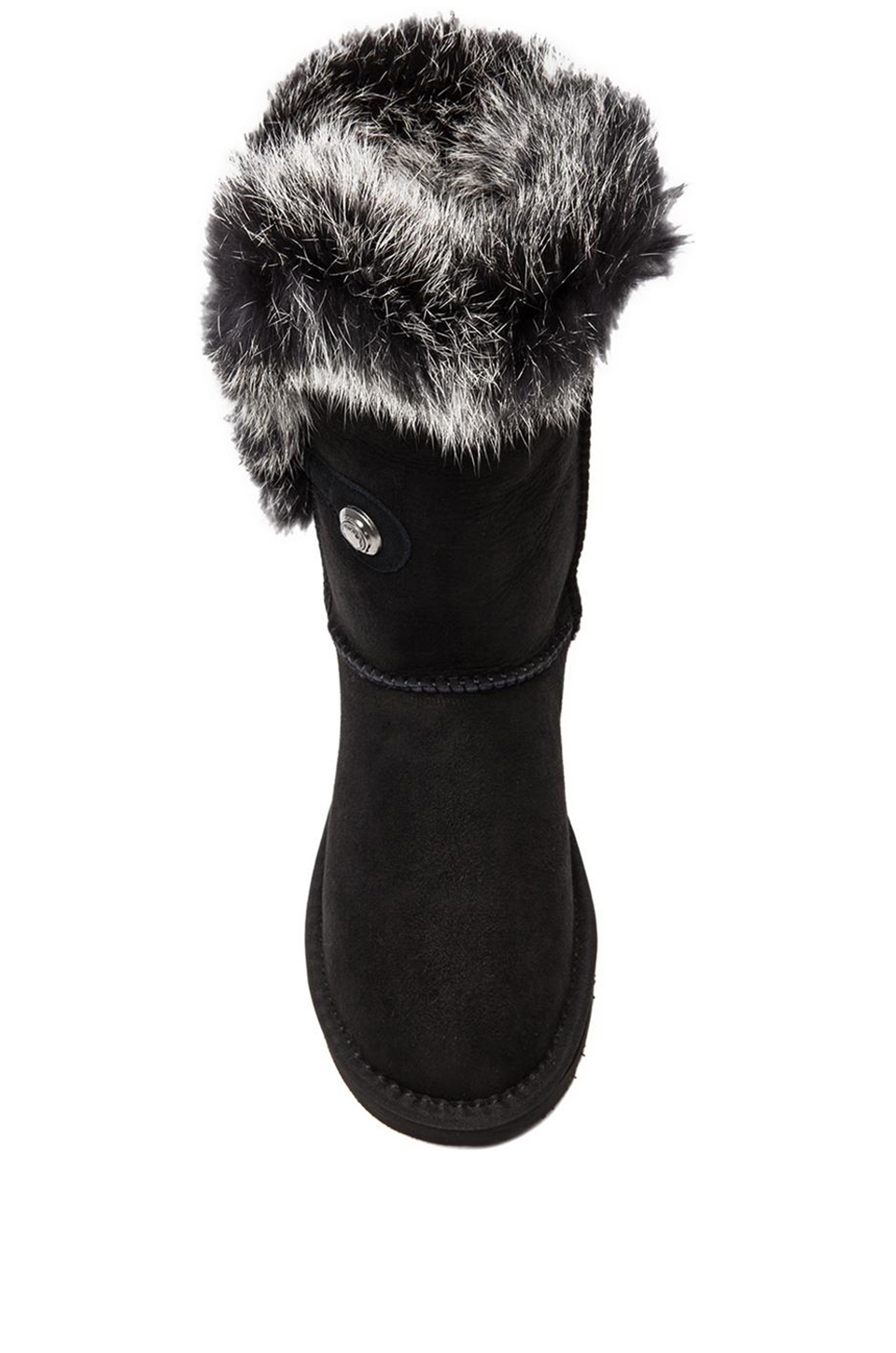 Australia Luxe Collective Nordic Angel Short with Rabbit Fur Trim in Black