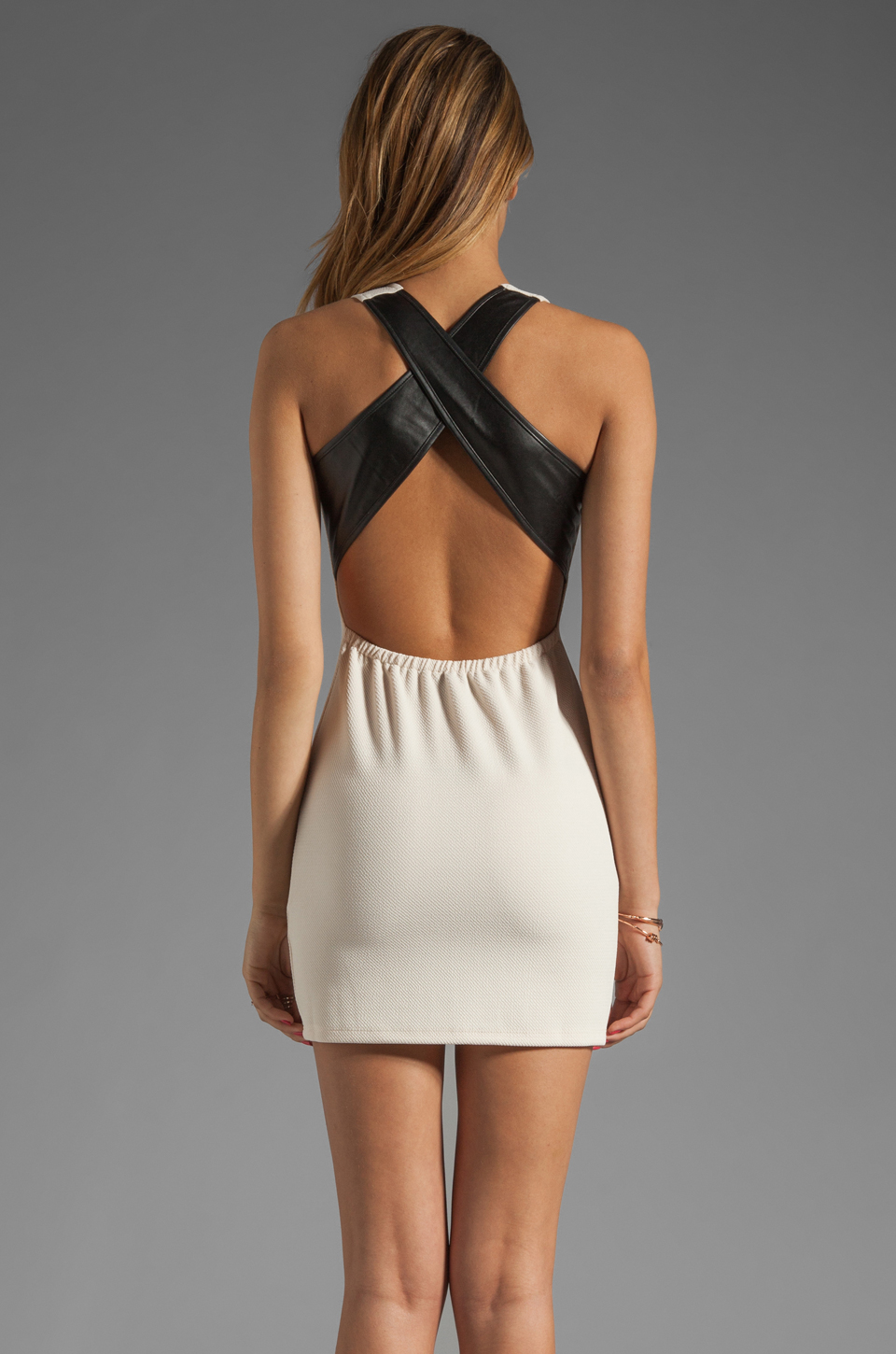 Lovers + Friends Lovers + Friends Shooting Stars Dress in Cream/Black Faux Leather
