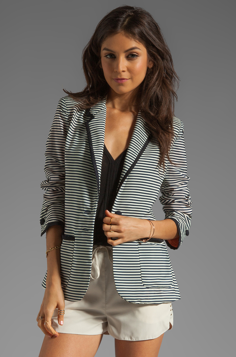 Lovers + Friends x BECAUSE IM ADDICTED Addicted to Love Blazer in Stripe