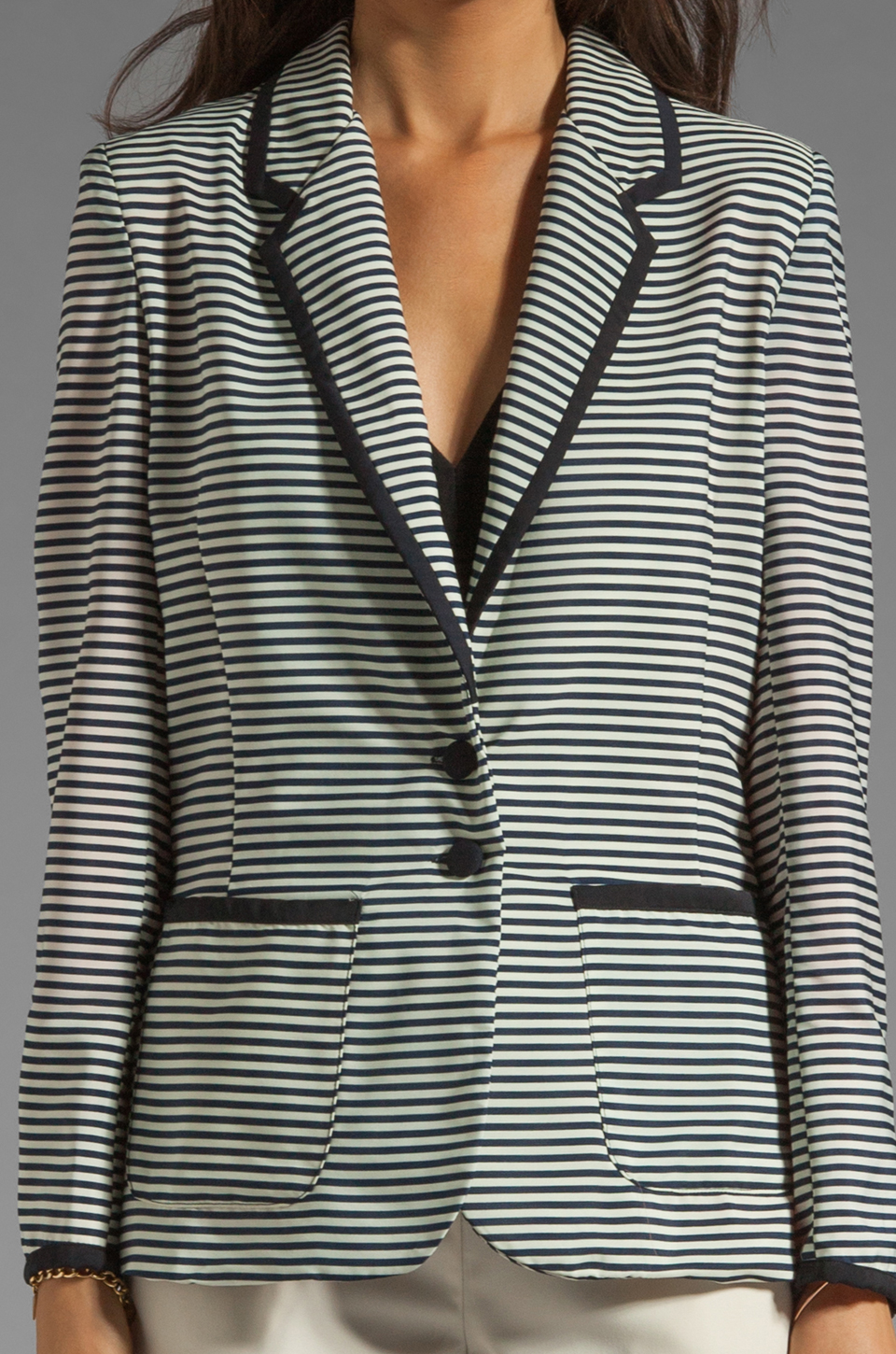 Lovers + Friends Lovers + Friends x BECAUSE IM ADDICTED Addicted to Love Blazer in Stripe