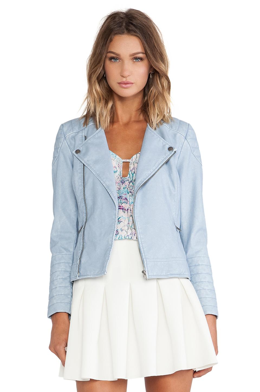 Pastel Blue Leather Jacket