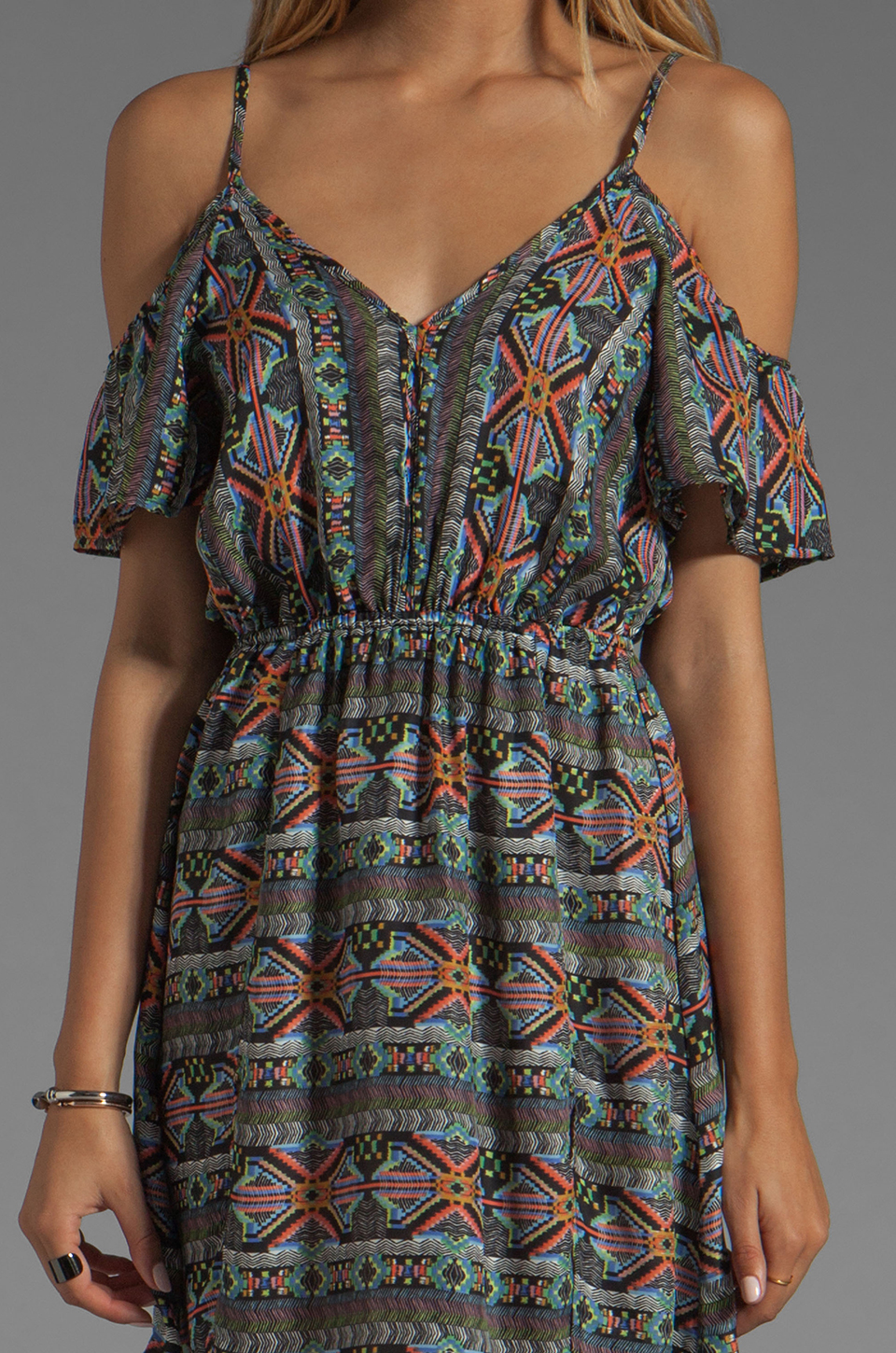 L*SPACE Tribe Cold Shoulder Dress in Multi