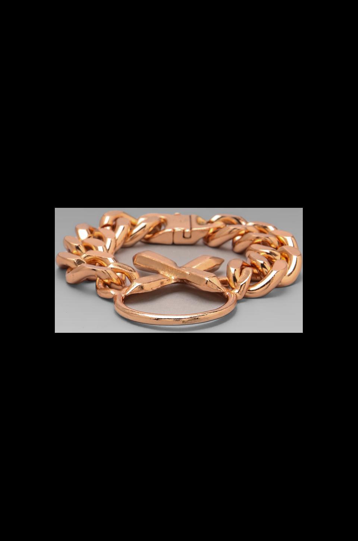 Luv AJ The Crystal Cross Bracelet in Shiny Rose Gold