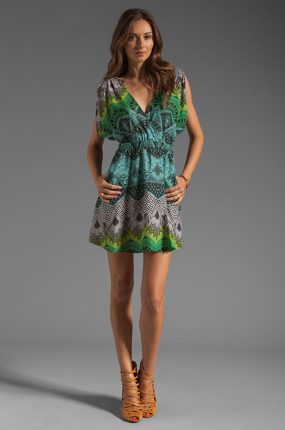 Mara Hoffman Printed Drape Sleeve Mini Dress in Desert Black