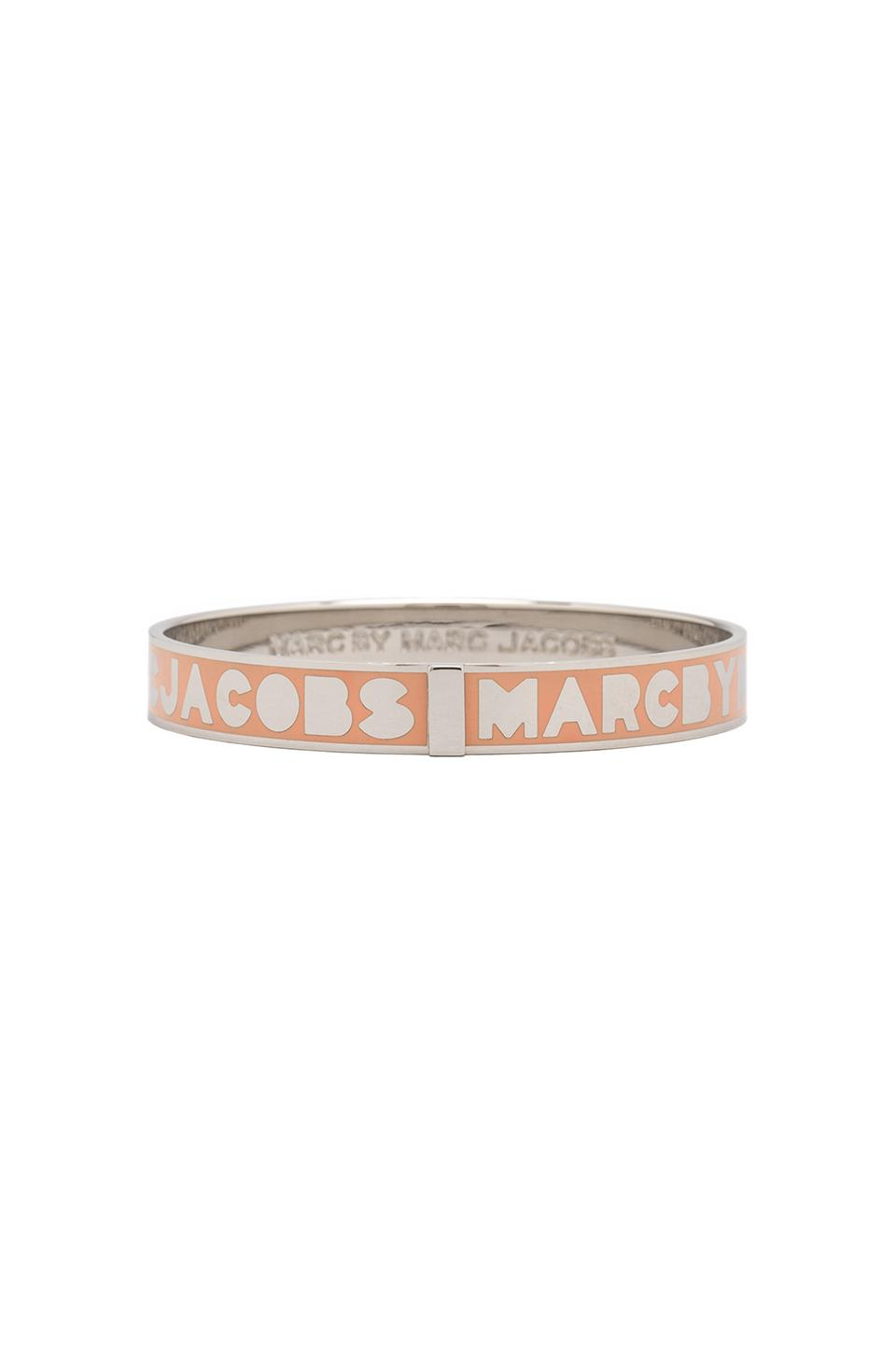 Marc by Marc Jacobs Logo Bangle in Metallic Silver