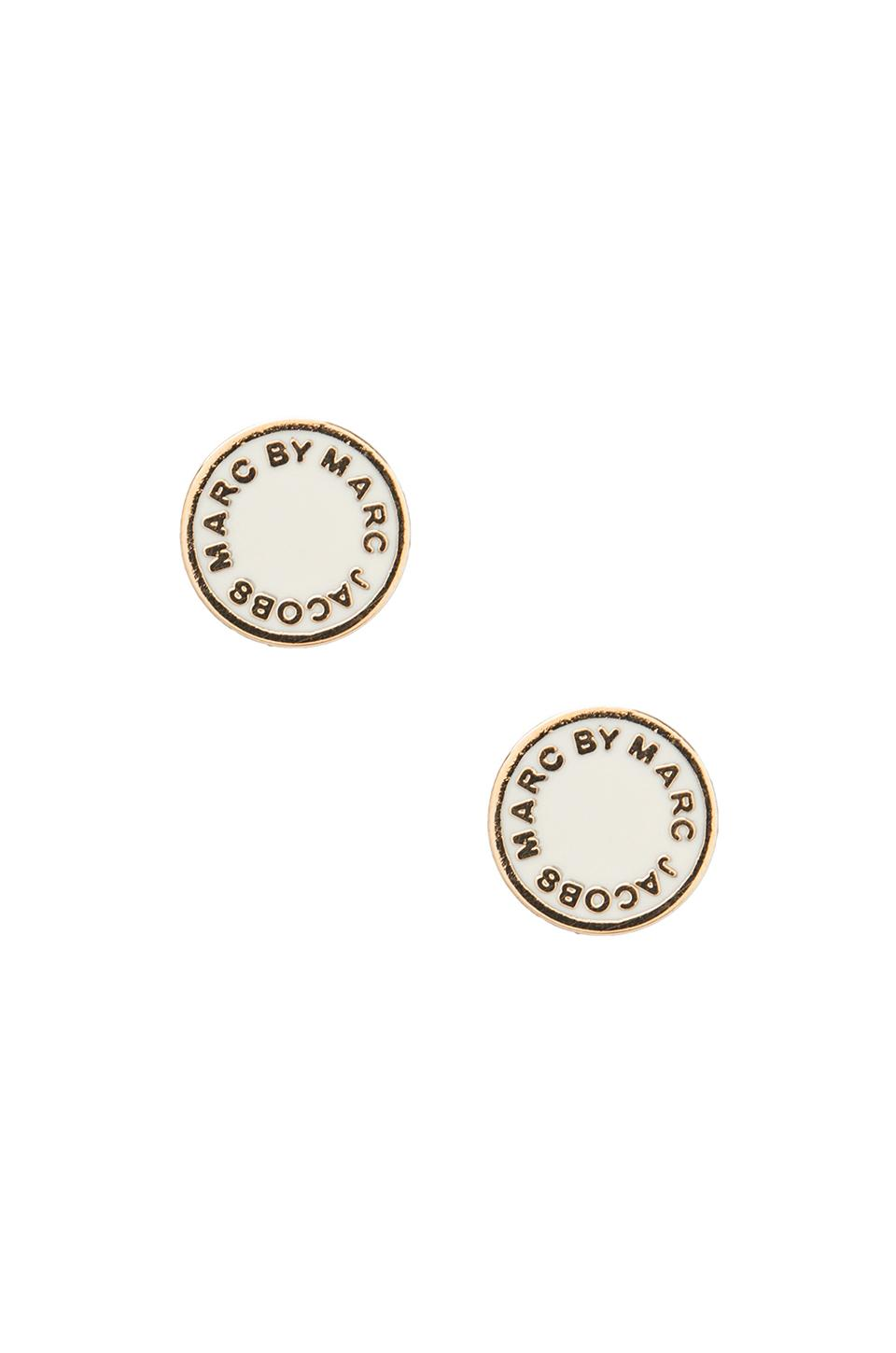 Marc by Marc Jacobs Enamel Logo Disc Stud Earrings in Cream Oro