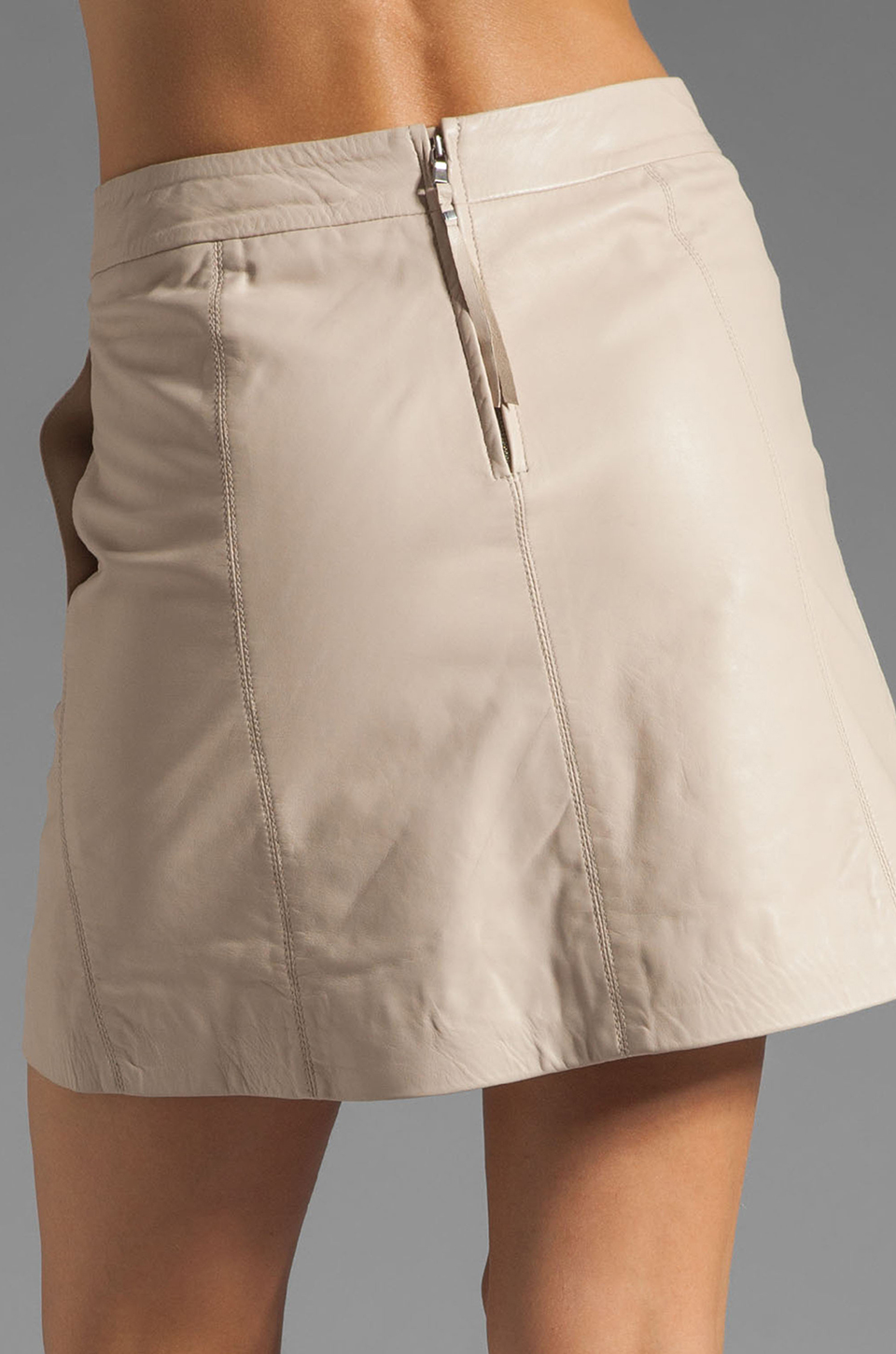 Marc by Marc Jacobs Jett Leather Skirt in Newsprint Beige
