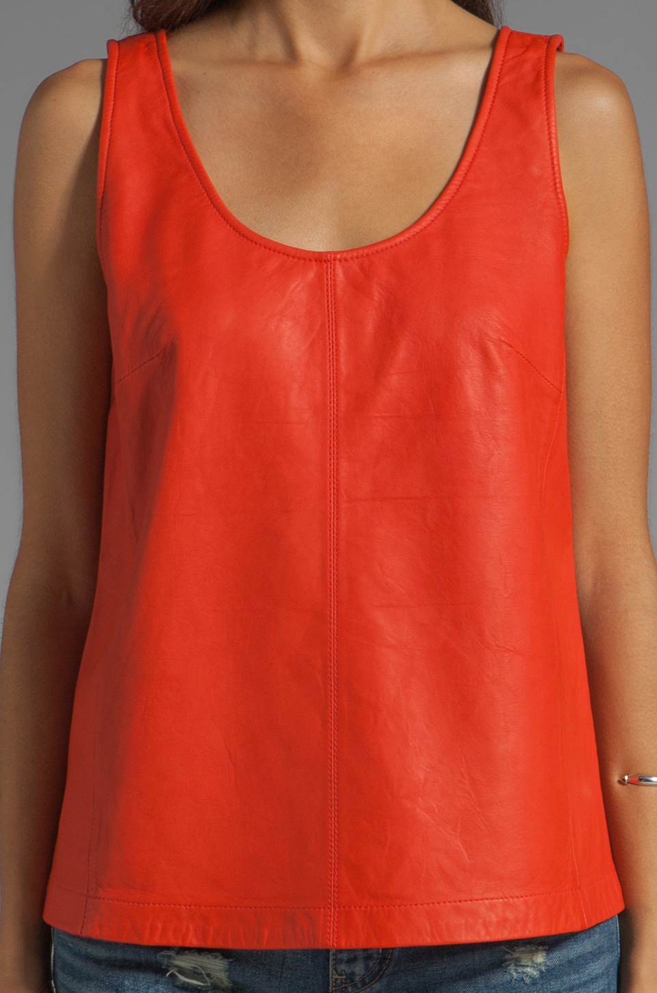 Marc by Marc Jacobs Jett Leather Top in Flamingo Red