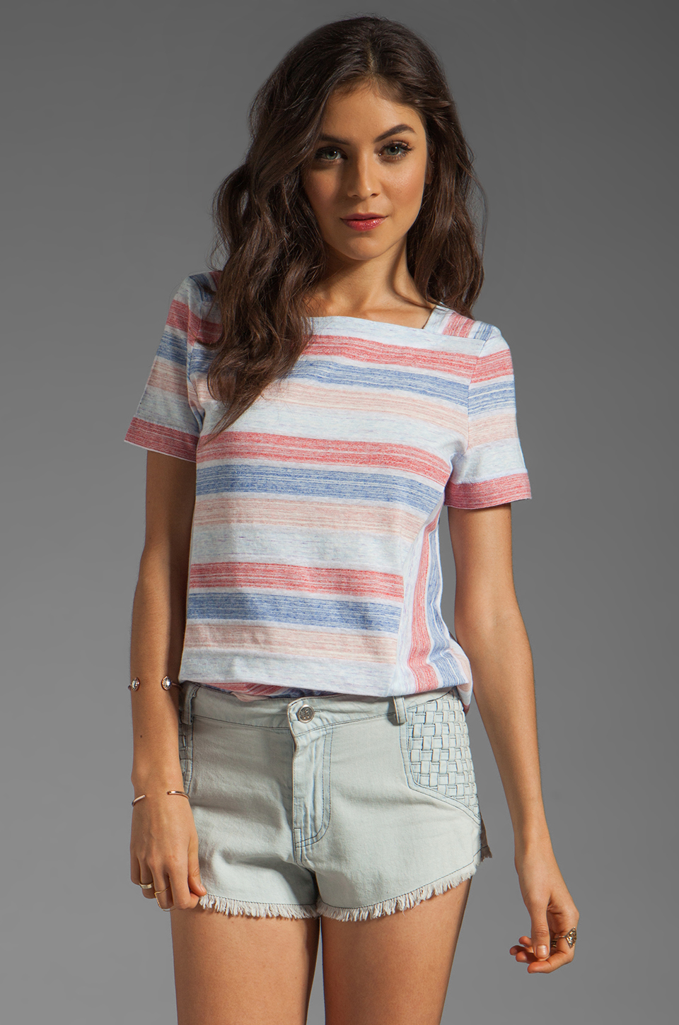 Marc by Marc Jacobs Sketch Stripe Top in Lipstick Red Multi