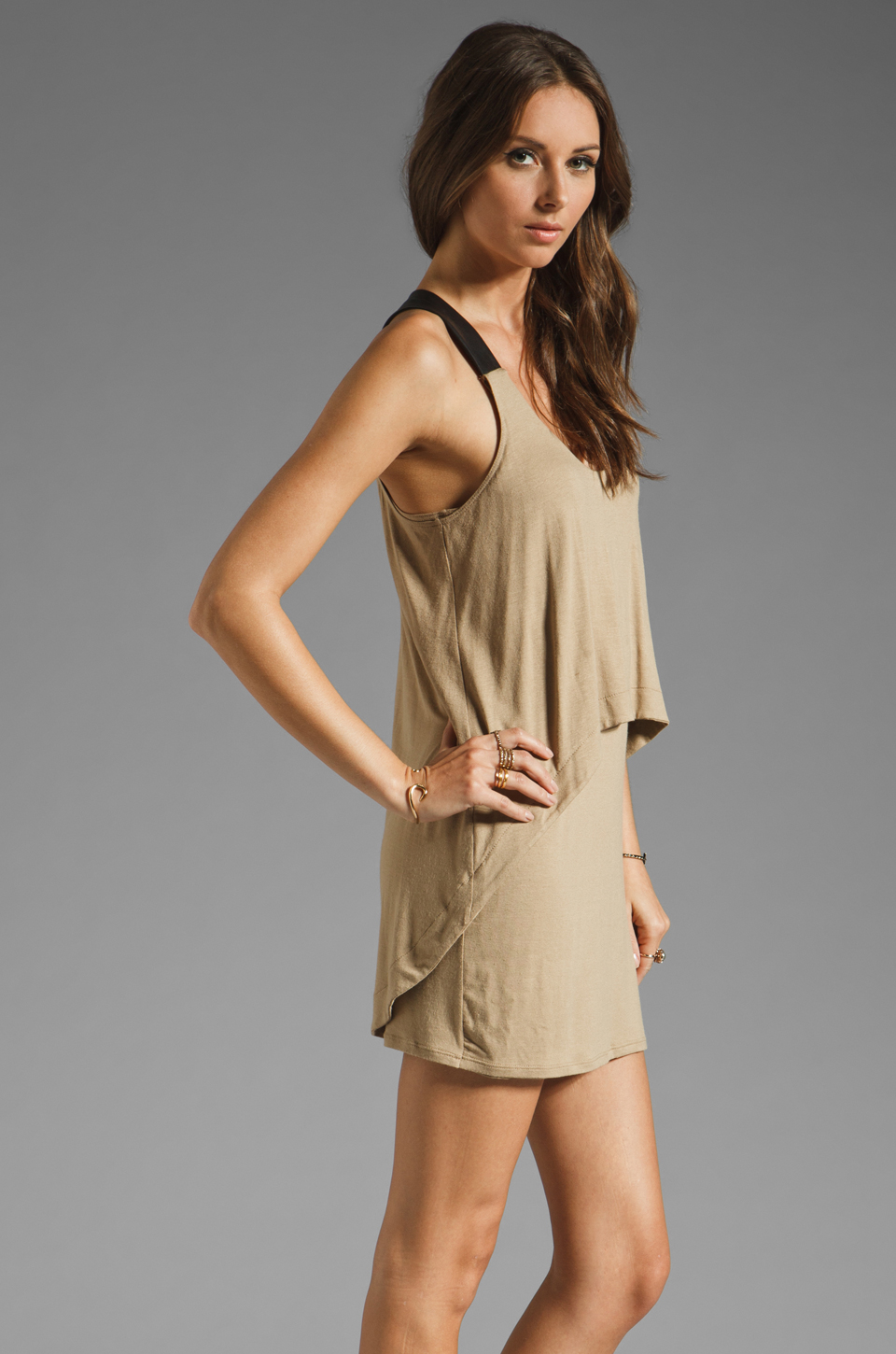 Mason by Michelle Mason Leather Strap Tank Dress in Camel