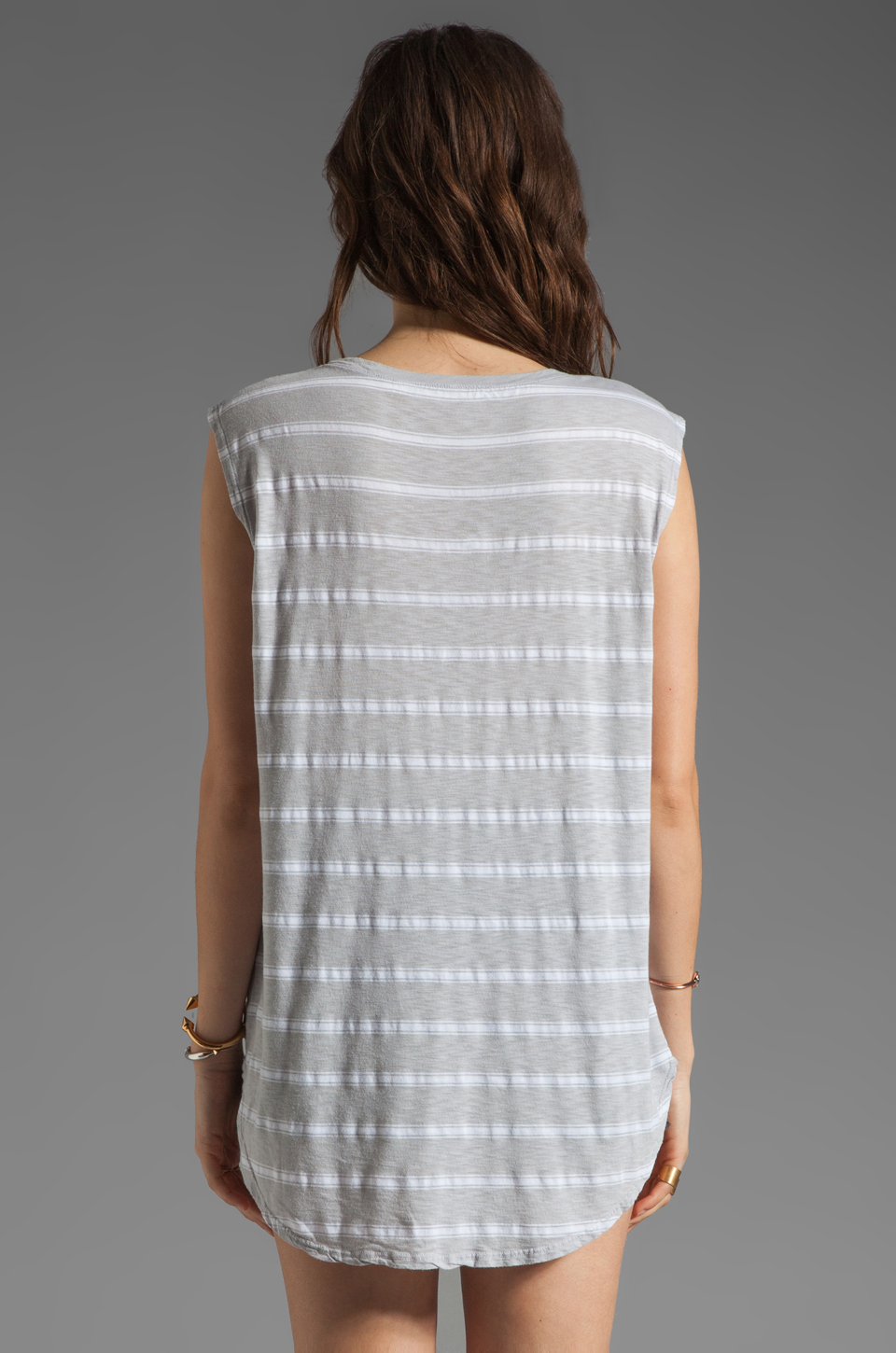 Michael Stars Striped Muscle Tank in Chateau