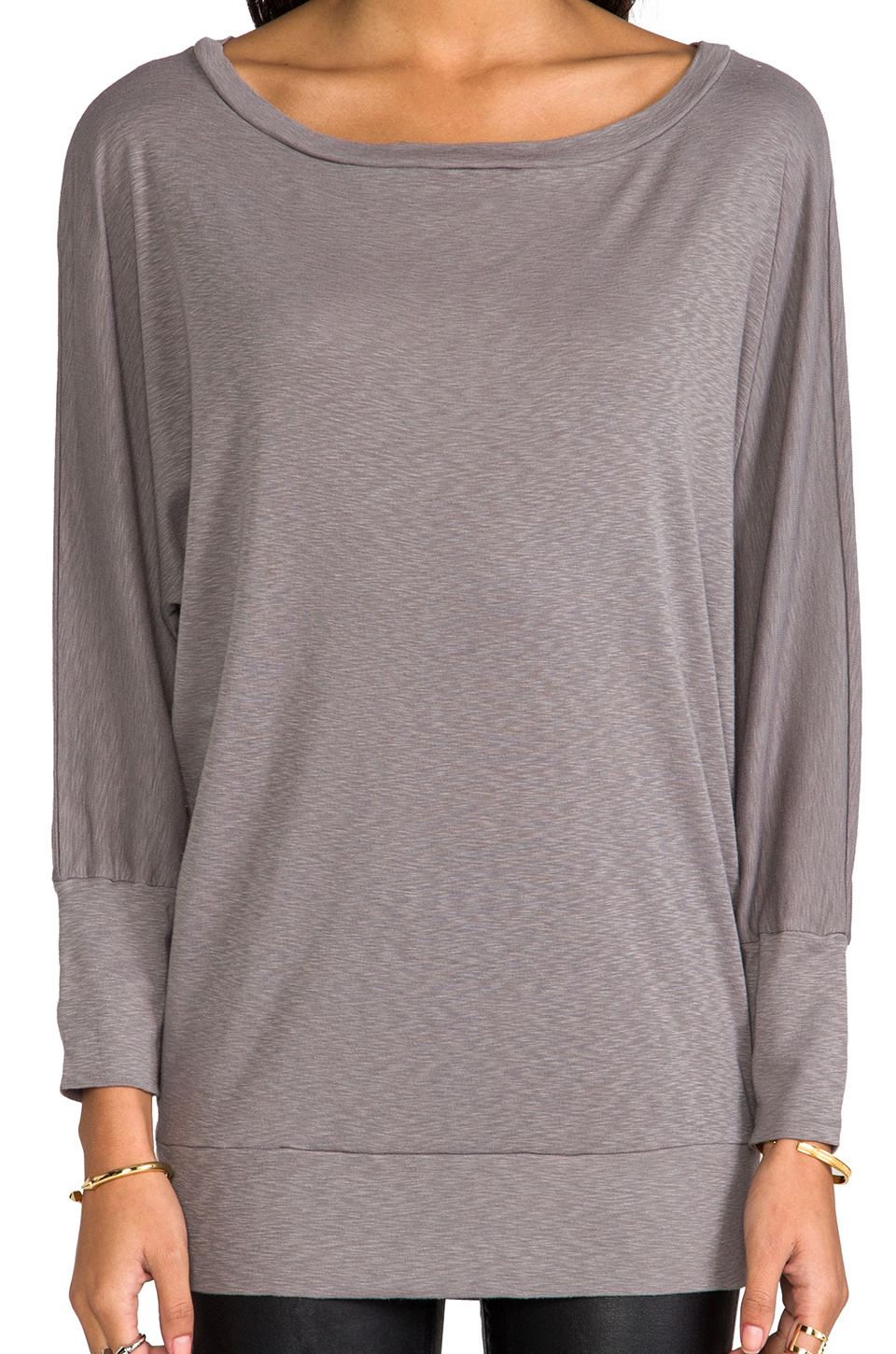 Michael Stars 3/4 Sleeve Wide Neck Dolman in Galvanized