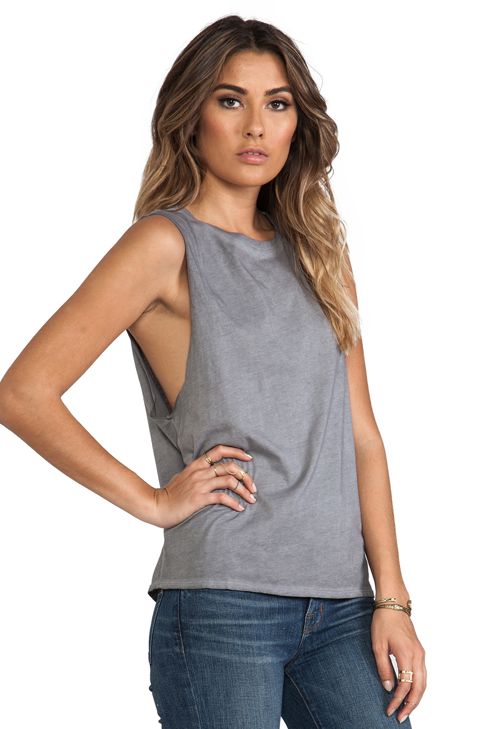 Michael Stars Sunfaded Jersey Dropped Armhole Tank in Oxide