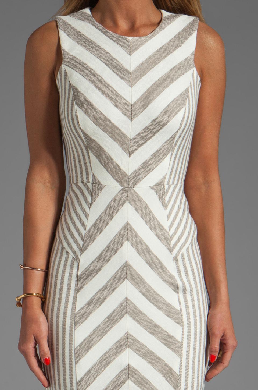 MILLY Fabulous Italian Stretch Stripes and Mini Stripes Tank Dress in Cork
