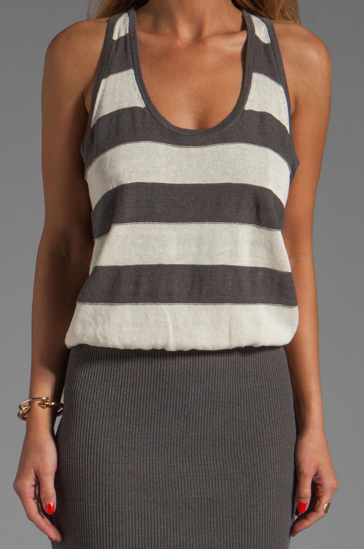 MILLY March Knits Reverse Jersey Stripe Blouson Dress in Cinder/Bone