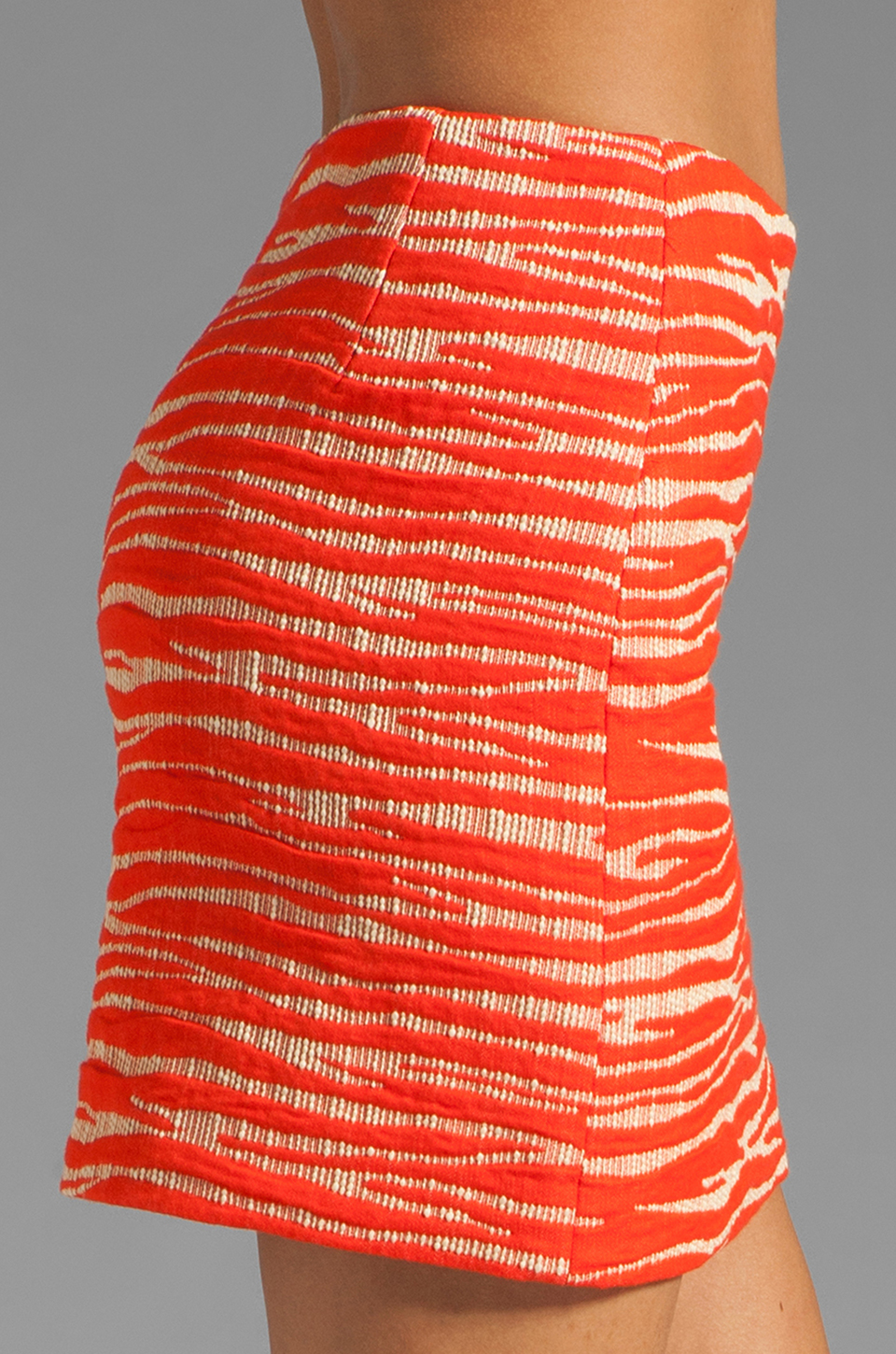 MILLY Zebra Jacquard Classic Mini Skirt in Persimmon