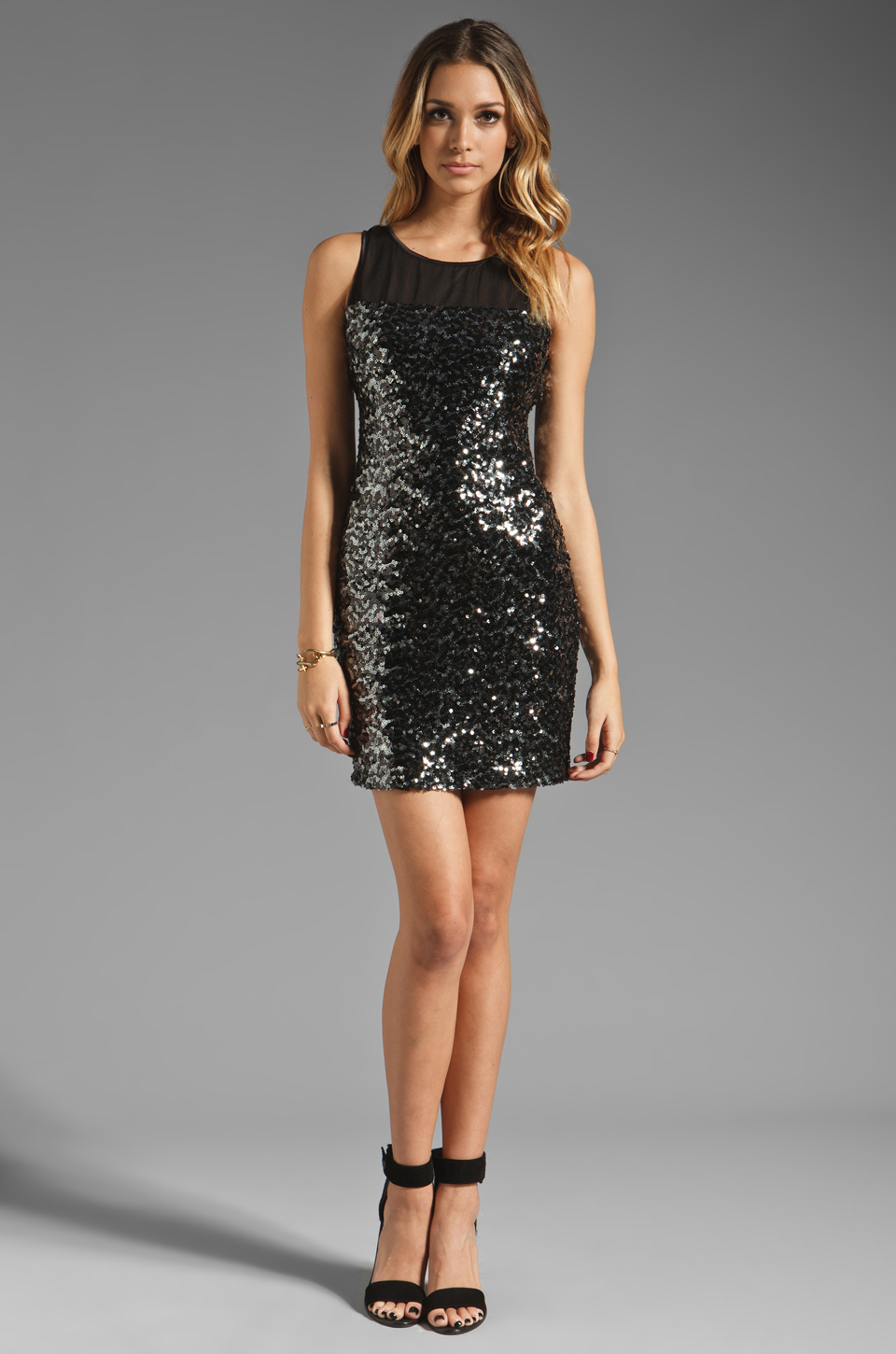 MM Couture by Miss Me Sleeveless Dress w/ Sequin Body in Black