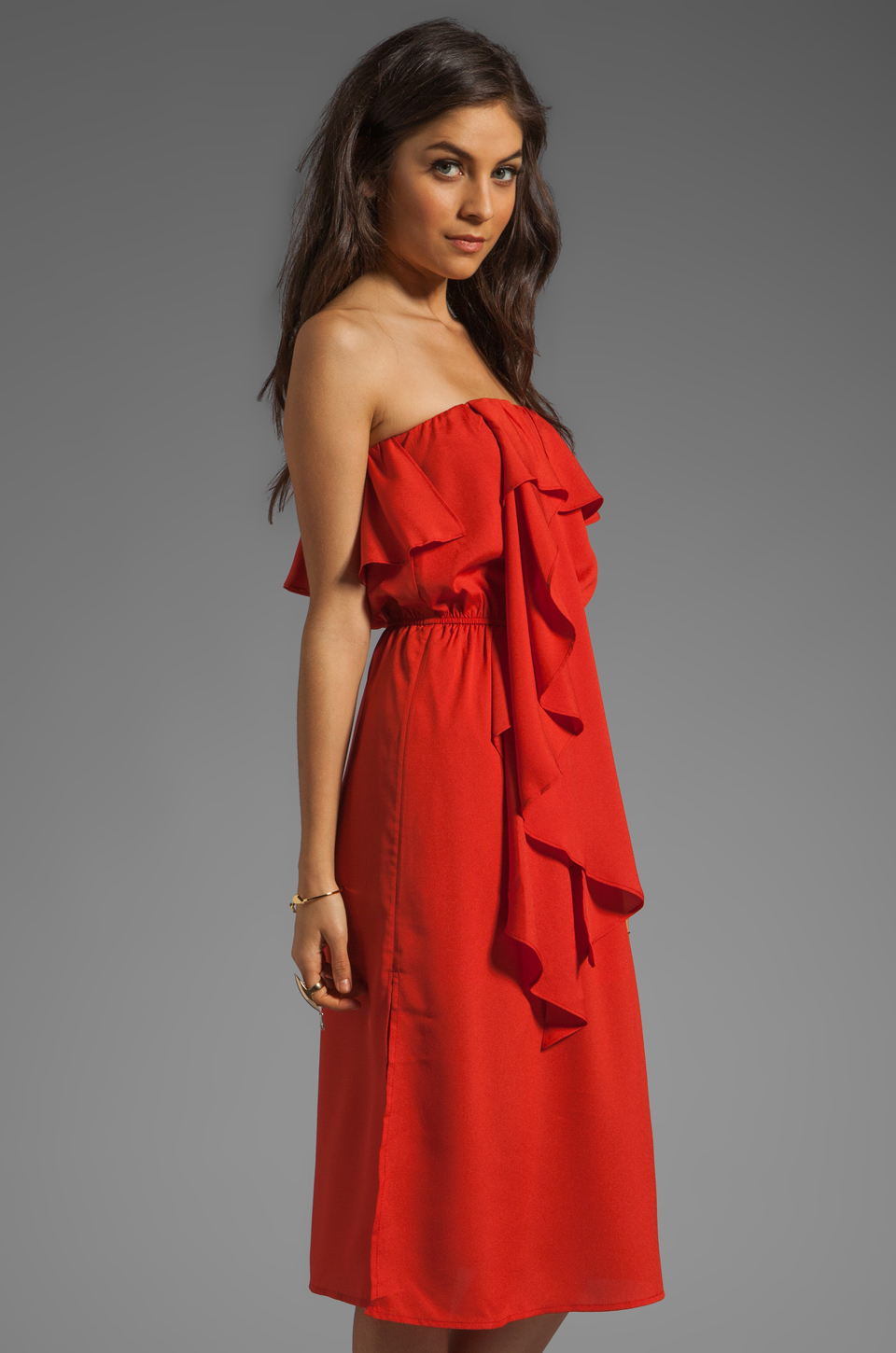 MM Couture by Miss Me Strapless Ruffle Dress in Red