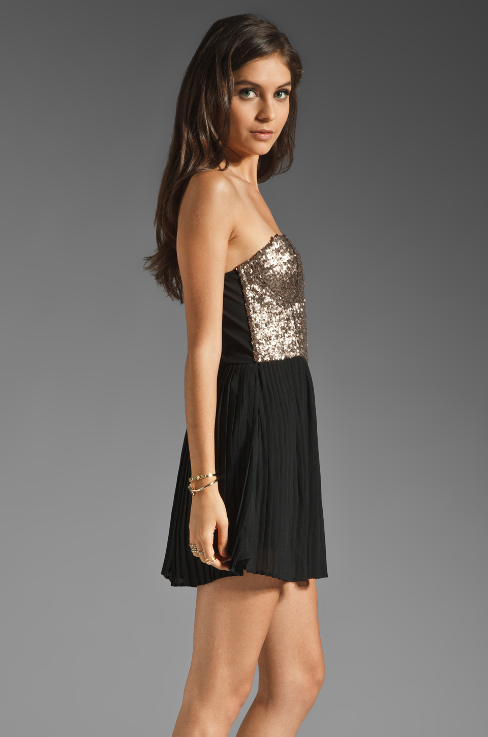 MINKPINK The Shining Sequin Mini Dress in Gold/Black