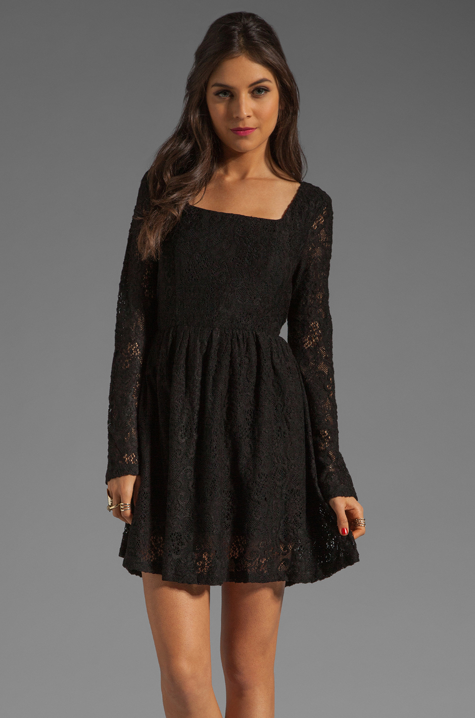 MINKPINK Lost Innocence Long Sleeve Lace Dress in Black