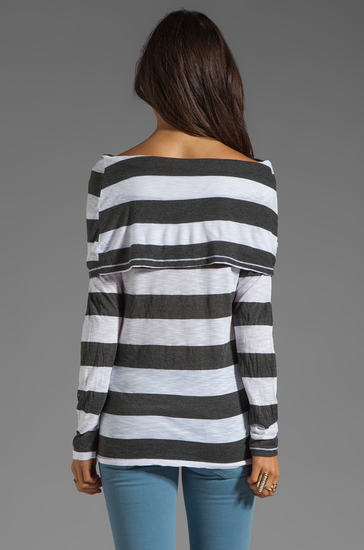 Market Charcoal Stripe Elsa Top in White