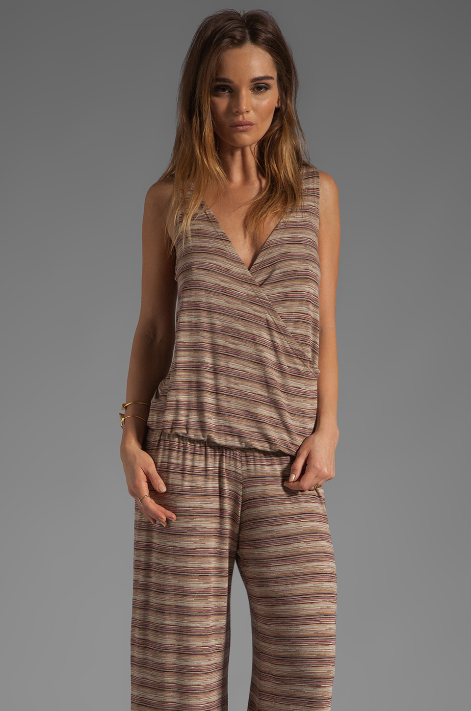 Michael Lauren Joe Long Romper in Berry Toffee