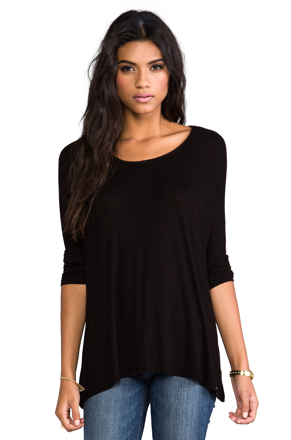 Michael Lauren Hunter Draped Tee in Black