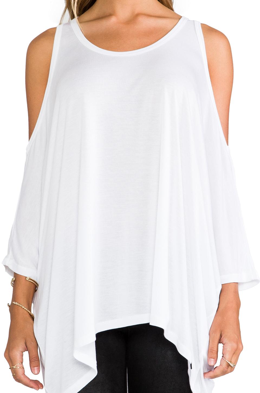 Michael Lauren Morris Oversized Open Shoulder Top in White