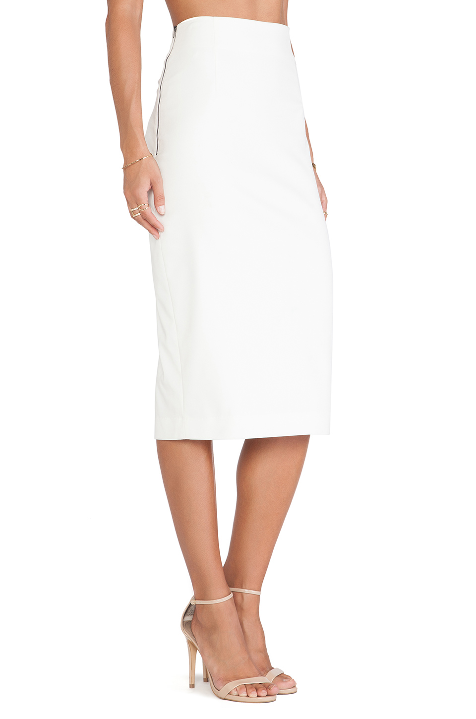 minty meets munt pencil skirt in winter white revolve