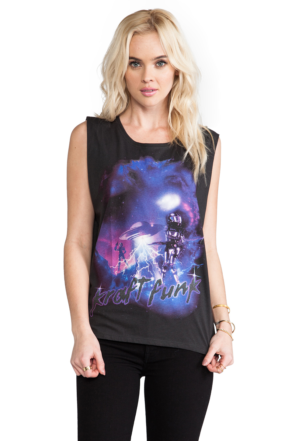 Motel Daft Punk Oversize Tank in Black