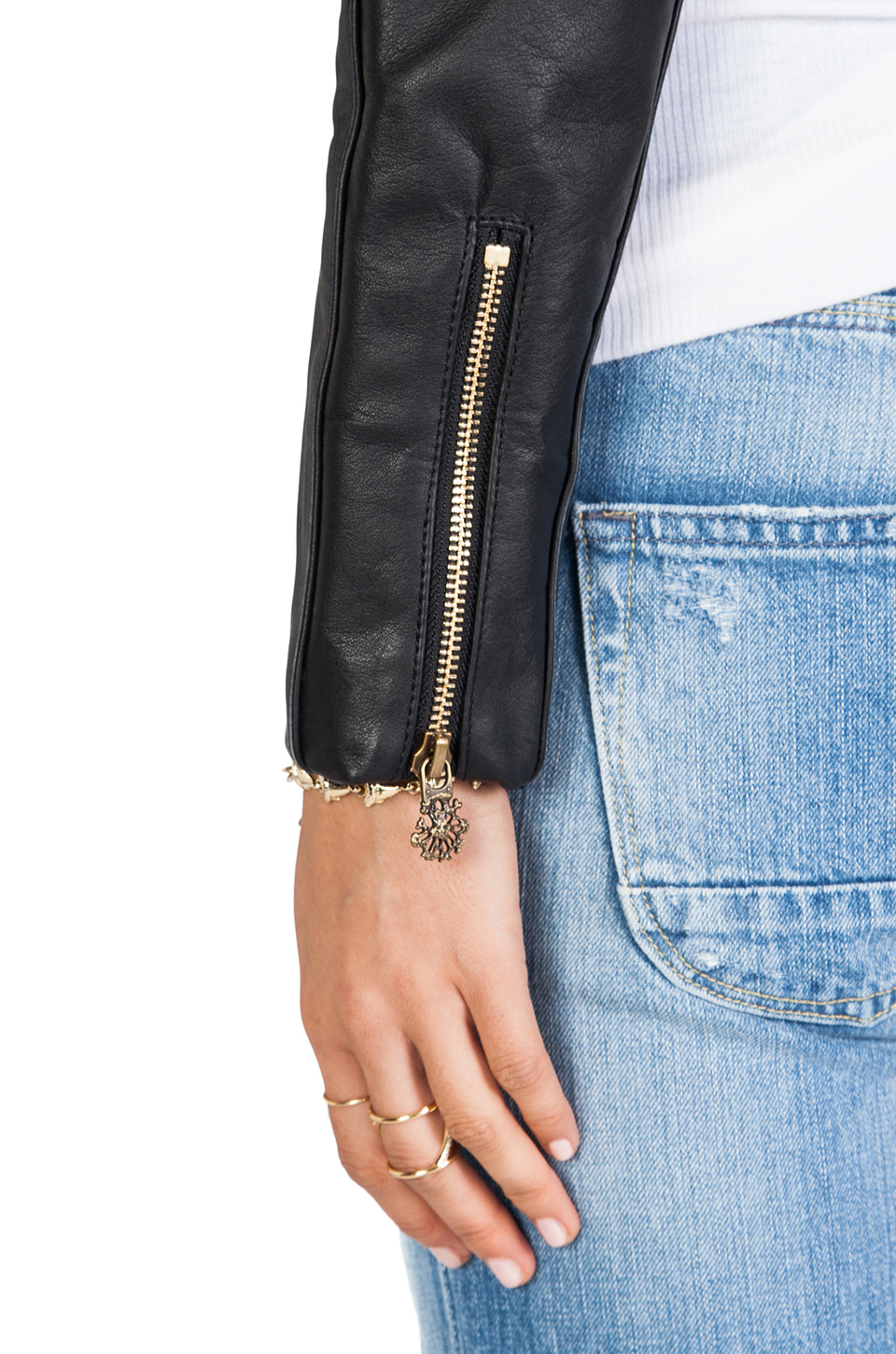 Maison Scotch Denim with Leather Sleeve Jacket in Med Blue