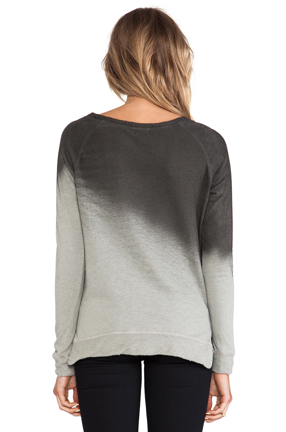 My Line Penny Dolman Ombre Print Off the Shoulder Pullover in Black Spray