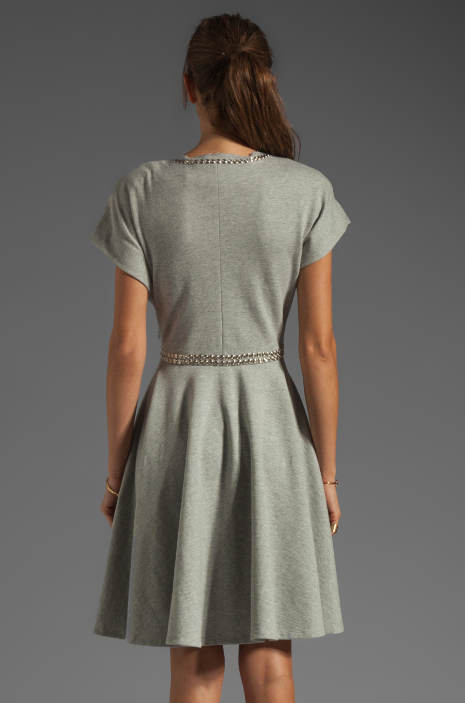 Norma Kamali Modern Vintage Active Short Sleeve Flared Dress in Grey with Silver Studs