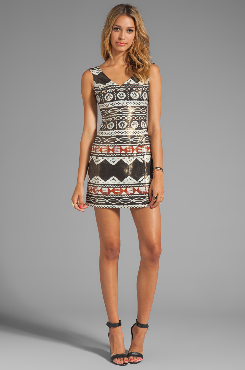 Nanette Lepore Aztec Linen Dress in Black Multi