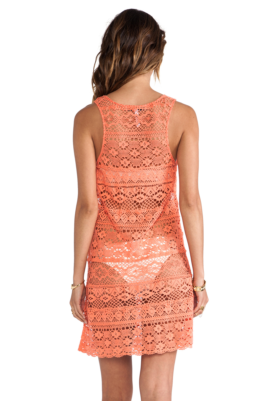 Nanette Lepore Cosmic Crochet Tank Dress Cover Up in Flamingo