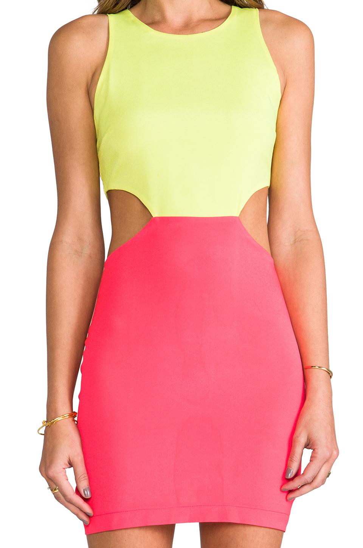 Naven 2 Tone Cutout Dress in Neon Yellow/Neon Salmon