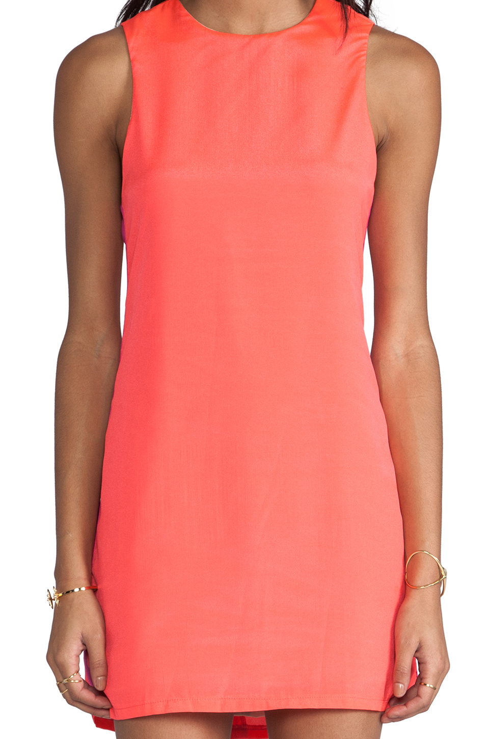 Naven Sporty Twiggy Dress in Neon Salmon/Pop Pink