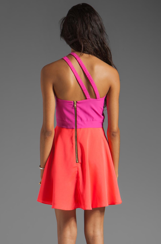 Naven 2 Tone Bella Circle Dress in Pop Pink/Neon Salmon