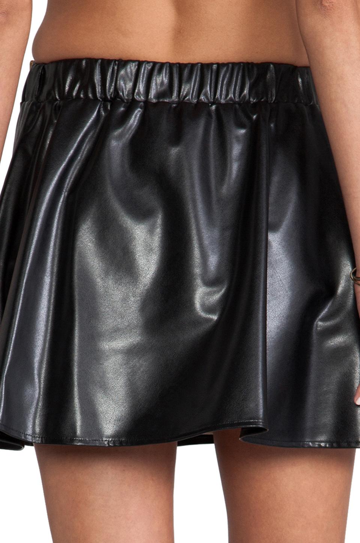 Naven Biker Skirt in Black Faux Leather
